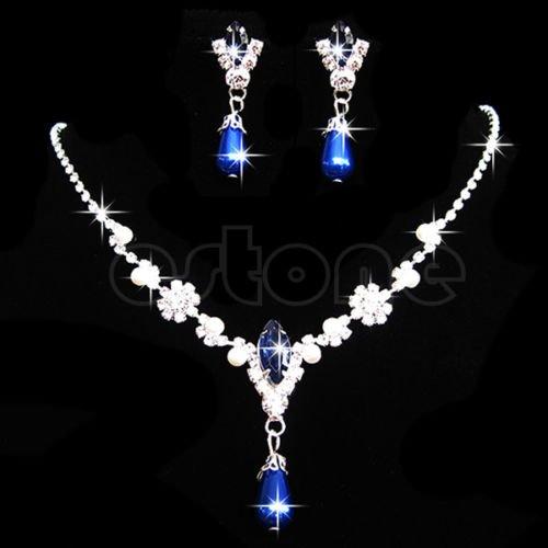 Wedding Bridal Crystal Rhinestone Pearl Necklace Pendant Earrings Jewelry Sets Blue by princessdress08