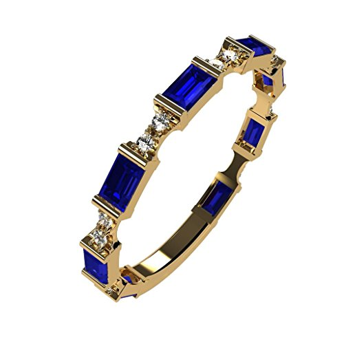 NaNa Silver Stackable Ring Baguette Cut Yellow Gold Plated - Size 8 - Simulated Sapphire - Sept. - Stone Cubic Zirconia Peridot Center