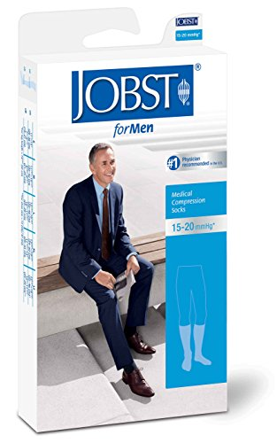 Jobst For Men 15-20 Knee High Closed Toe Ribbed Compression Socks White Large