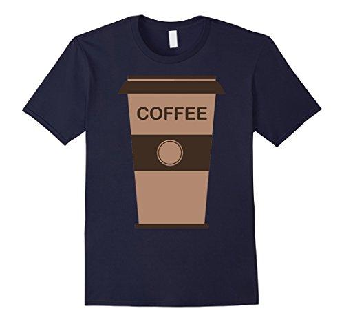 Mens Coffee Cup Costume Shirt Roasted Beans Brewed Drink Beverage Medium Navy