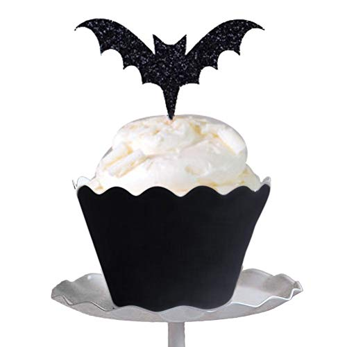 12pcs Halloween Bat Cupcake Toppers + Cupcake Wrappers Halloween Party Cake Decoration -