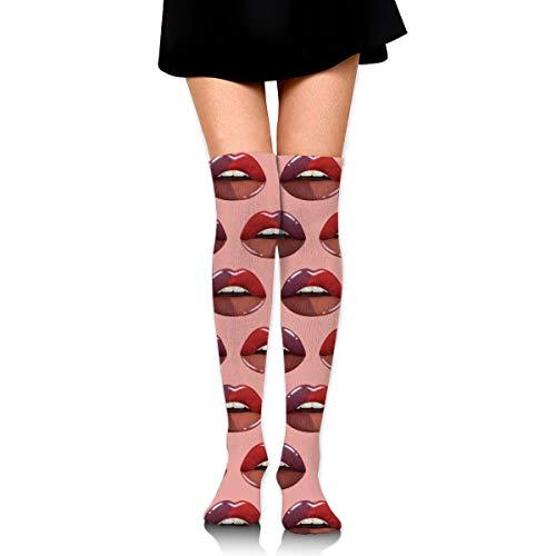 Women Crew Socks Thigh High Knee Pink Lips Long Tube Dress Legging Sport Compression Stocking