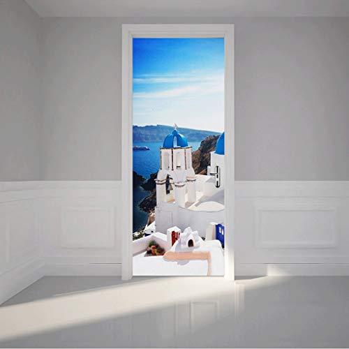 Zcxbhd PVC Imitacion 3D Etiqueta Puerta Estrella Mar Arena Y Ola Puerta Madera Impermeable Renovación Autoadhesivo 77 X 200...