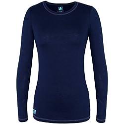 Adar Womens Comfort Long Sleeve Fitted T-Shirt Underscrub Tee- 3400 - Navy - 2X