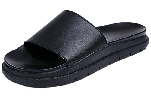 Anbover Womens Fashion Slide-in Tøfler Behagelig Denim Flat Flipflop Svart