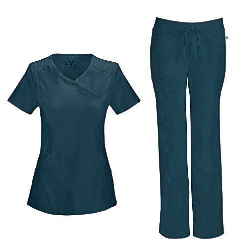 Cherokee Infinity Women's Mock Wrap Scrub Top 2625A & Low Rise Drawstring Scrub Pants 1123A Scrubs Set (Certainty Antimicrobial) (Caribbean Blue - Small/Small Petite)