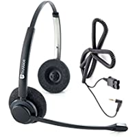 Professional Double Ear Noise Canceling Call Center / Office Headset with 2.5mm adapter cable for Cisco SPA: 303, 501G, 502G, 504G, 508G, 509G, 525G 512G, 514G,525G2
