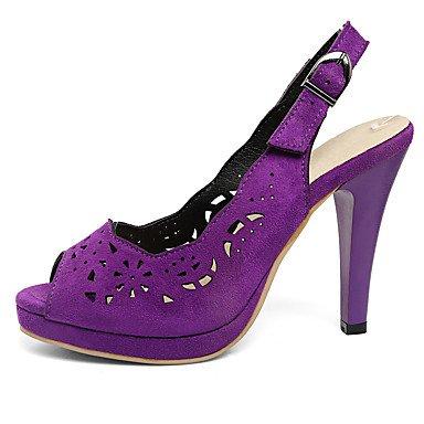 LvYuan Mujer-Tacón Stiletto-Zapatos del club-Sandalias-Boda Vestido Fiesta y Noche-Vellón-Negro Morado Rojo Gris Burgundy