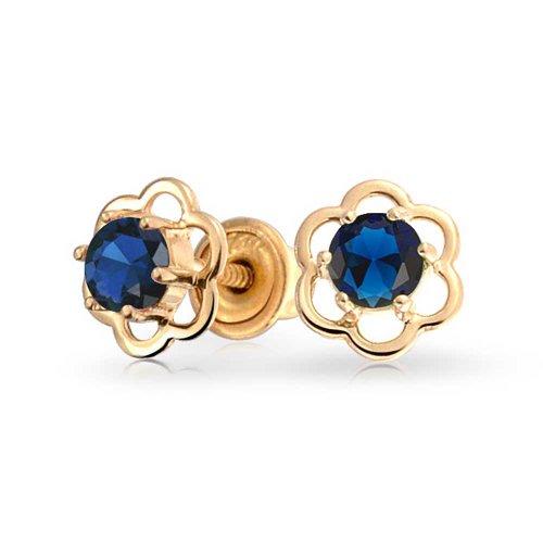 Minimalist Tiny Royal Blue CZ Open Flower Stud Earrings Teen Cubic Zirconia Simulated Sapphire 14K Real Gold Screwback
