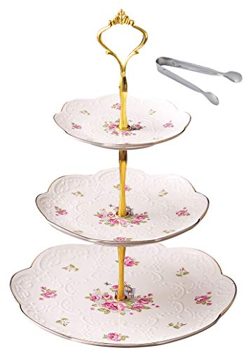 Jusalpha Elegant Embossed 3-tier Ceramic Cake Stand- Cupcake Stand- Tea Party Pastry Serving Platter in Gift Box and a Free Sugar Tong (FL-Stand 03) (3 Tier)
