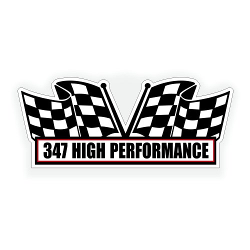 Solar Graphics USA Air Cleaner Engine Decal - 347 High Performance for V8 Race, Classic Stroker Stroked Muscle Car, Compatible with Ford - 5x2.25 inch