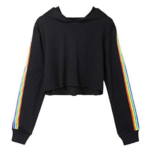 Donna Cappuccio Nero Maglietta Manica Sexy Felpa Fashion Camicia Weant Elegante T Tumblr Pullover Top Lunga Crop Blusa Giacca Shirt Magliette Maglia wfgnq