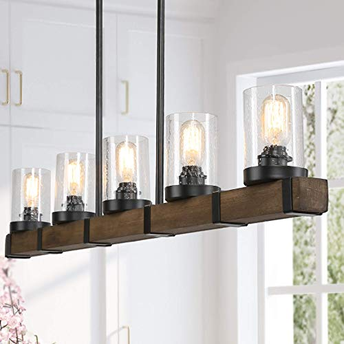 Farmhouse Chandeliers for Dining Room,5-Lights Kitchen Island Lighting,Rectangle Wood Chandeliers with Seedy Glass Shape (Lighting Country Kitchen)
