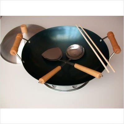 14' Wok Set (6 Piece 14' Preseasoned Double Handle Round Bottom Wok Set)
