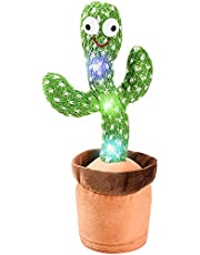Dancing cactus repeats what you say, electronic plush toys with lights, singing cactus recording and repeating your words educational toys, singing cactus toys, decorative cactus plush toys