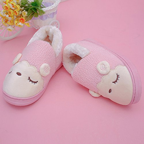 GreatParagon Paragon Women Men plush slippers House Cotton-padded Warm Slippers Indoor Anti-Slip Shoes Cute Sheep Design 02 Pink EXDnjesNZZ