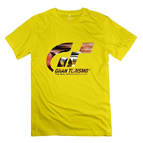 Gran Turismo Logo Funny 100% Cotton Yellow T Shirt For Mens Size M