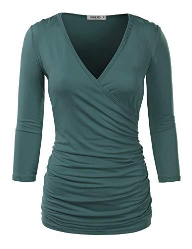 NINEXIS Womens Long Sleeve Crossover Side Wrap Surplice Casual Top Teal L - Long Sleeve Surplice