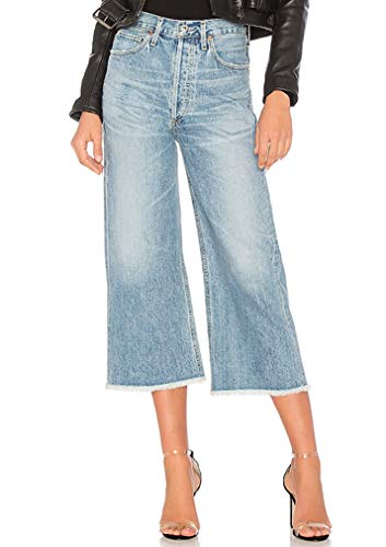 Citizens Rise Of Humanity High (Citizens of Humanity Emma High Rise Wide Leg Crop Jeans in STAX Raw Hem Wash (27))