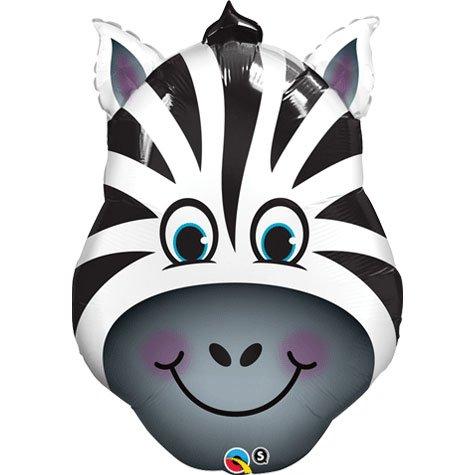 Qualatex Zany Zebra Shaped Jumbo Foil Balloon - Gift Shaped Balloon