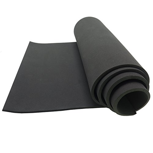 Neoprene Sponge Foam Rubber Sheet Roll - 15in Wide X 60in Long, 1/4in. Thick for DIY Projects - Durable, Easy Cut, Non-Slip and Non-Absorbent - Black Packing Foam