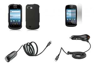 Bloutina ZTE Valet Z665C - Premium Bundle Pack - Black Protective Hard Shell Cover Shield Case + ATOM LED Keychain Flashlight...