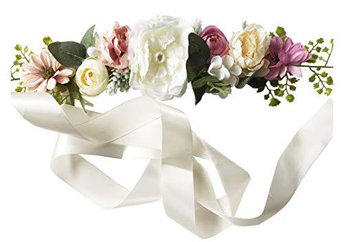 Wedding Bride Belt Sash Maternity Flower Crystal Pearls Belts for Dress PTK16-B (Flower Sash)