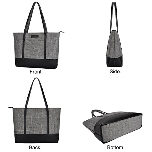 Laptop Bag,Multi Pockets Large Laptop Tote Bag,15.6 Inch Laptop Business Tote Bag for Women[gray] by Sunny Snowy (Image #4)