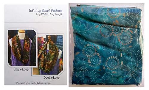 - SewBatik Infinity Scarf Kit - Aqua Rainbow Batik Fabric