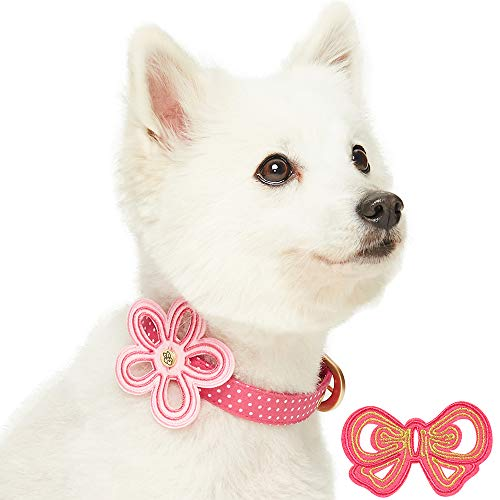 Blueberry Pet 2019 New Pink Polka Dot Dog Collar with Detachable Flower & Bowtie, Neck 9-12.5