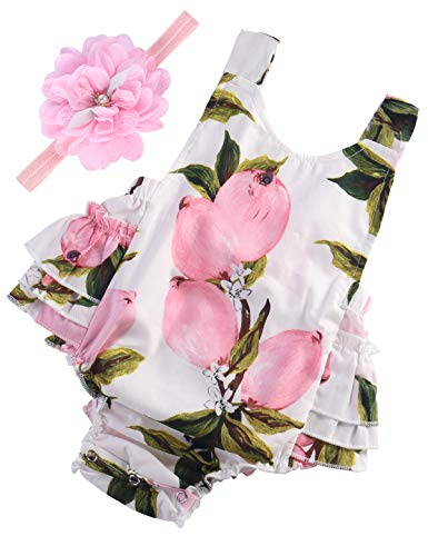 Baby Girl's Floral Ruffles Romper Summer Clothes,A8,13-24 Months(Size L)