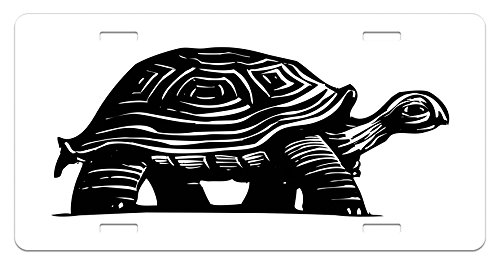 Lunarable Turtle License Plate, Woodcut Style Slow Animal Walking Around Sketch Style Jungle Fauna Illustration, High Gloss Aluminum Novelty Plate, 5.88 L X 11.88 W Inches, Black and White