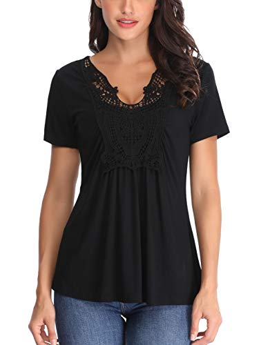 Peasant Blouse for Women V Neck Sexy Shirts Short Sleeve Ruched Front Crocheted Lace Neckline Tops Black