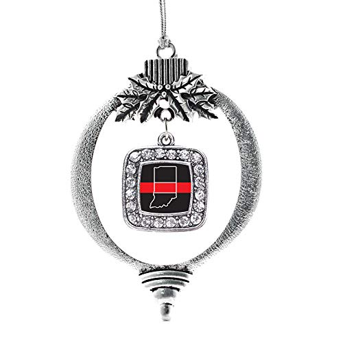 Inspired Silver - Indiana Thin Red Line Charm Ornament - Silver Square Charm Holiday Ornaments with Cubic Zirconia Jewelry