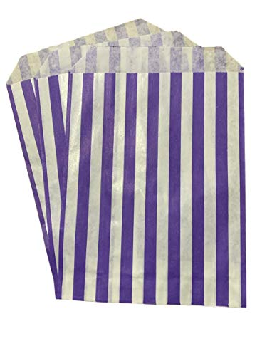Packitsafe 200 x Purple Candy Bags 10×14 Inch, Paper Stripped Stripe Bag, Party Sweets Bags