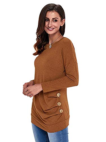 FISOUL Womens Casual Long Sleeve Round Neck Loose Tunic T Shirt Blouse Tops