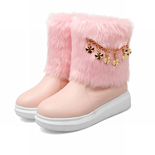 Carolbar Womens Chains Sweet Cute Warm Comfort Nepbont Snowboots Roze