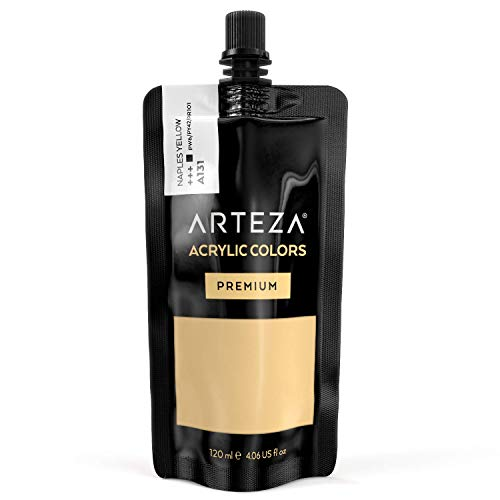 ARTEZA Acrylic Paint Naples Yellow Color (120 ml Pouch, Tube)