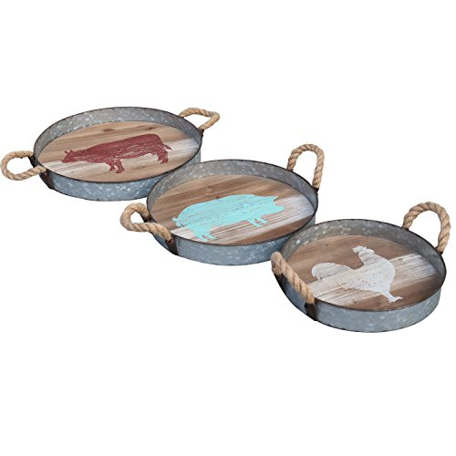 Barnyard Designs Round Metal & Wooden Decorative Nesting Tray Set, Vintage Rustic Distressed Design, Serving Trays for Country Kitchen, Coffee Table, Set of 3 ()