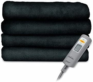 Sunbeam Velvet Plush Electric Heated Blanket Queen Size Deep Sea