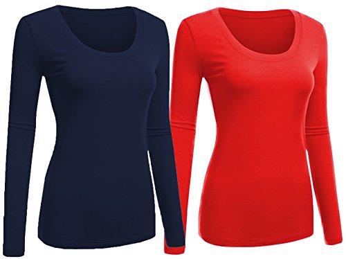 Emmalise Women's Junior and Plus Size Basic Scoop Neck Tshirt Long Sleeve Tee, 2XL, 2Pk Navy, Red ()