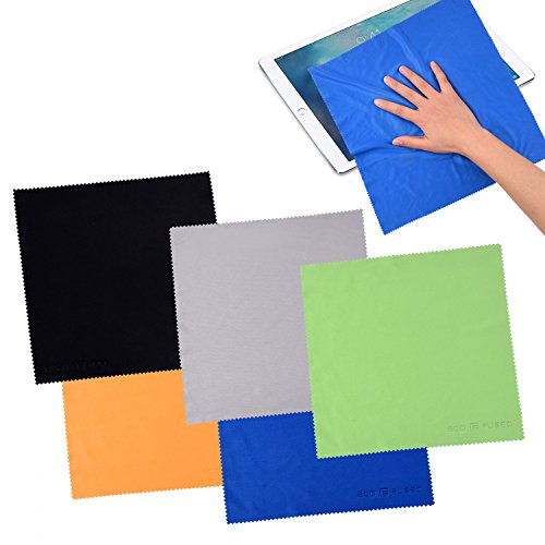 Microfiber Suede (Microfiber Cleaning Cloths - 5 EXTRA LARGE Cleaning Cloths (12 inch X 12 inch) for Cell Phones, LCD TV and Laptop Screens, Camera Lenses, Tablets (iPad, Nexus, Galaxy), Silverware, Glasses,)
