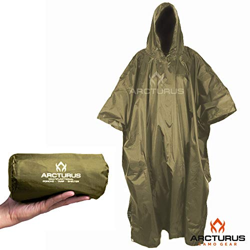 (Arcturus Rain Poncho: Lightweight Ripstop Nylon Poncho with Adjustable Hood. Multipurpose, Large, Waterproof Design - Makes a Great Tarp, Backpacking Ground Cloth & Emergency Shelter (Olive))