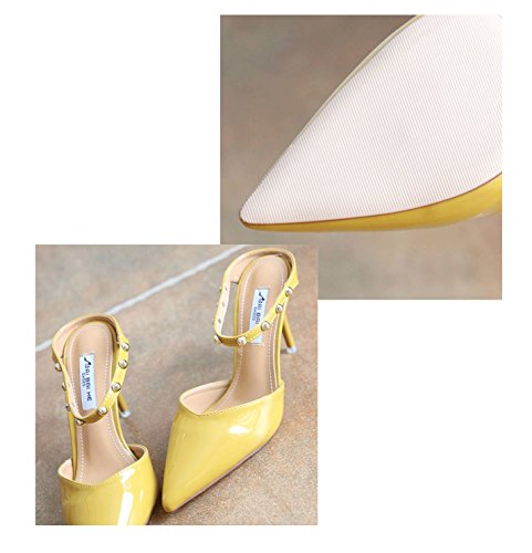 Sandals Vintage Feminine Pointed Toe Heels Fashion Summer Stiletto Yellow Sexy Slippers Heel High dnnrqxSYw