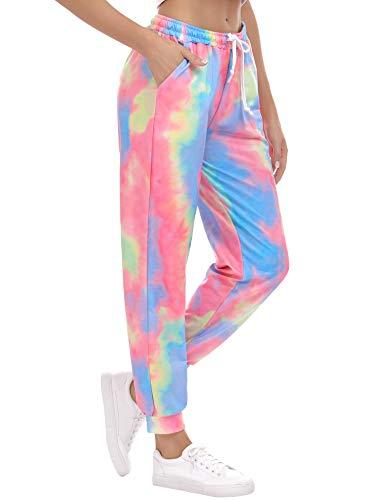 Iréal damesbroek, casual, bedrukt, met tas en trekkoord, casual, licht, voor sport, yoga, oefeningen