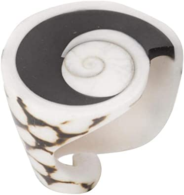 81stgeneration Anillo Natural de Concha Verdadera Espiral de Leopardo Blanco con Ojo de Shiva