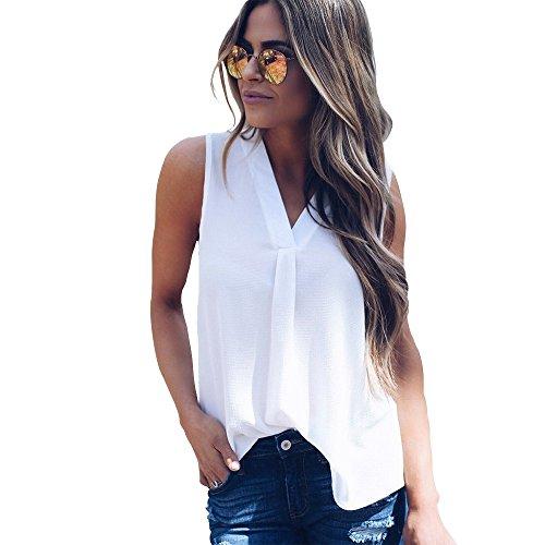 BigButer Women's Casual V Neck Sleeveless Chiffon Tank Tops Loose Blouse T Shirt
