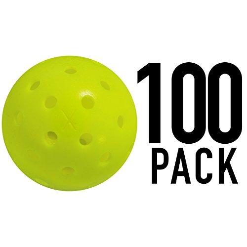 Franklin Sports X-40 Pickleballs - Outdoor Pickleballs- 100 Pack Bulk - USAPA Approved - Optic -