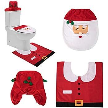 Terrific Amazon Com Ohuhu Santa Toilet Seat Cover 4 Piece Christmas Pabps2019 Chair Design Images Pabps2019Com
