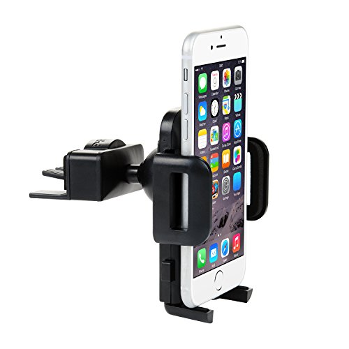 Car Phone Mount,Universal Mount Phone Holder for Car, ZSTVIVA CD Slot / Air Vent Cradle with Kickstand/One Touch Grip for iPhone 7/7 Plus, 6s/6s Plus,Galaxy S7/S7 Edge, S6/S6 Edge, and All Smartphones - Kickstand Mount